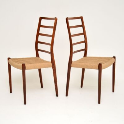 pair of danish rosewood retro vintage dining chairs niels moller model 82