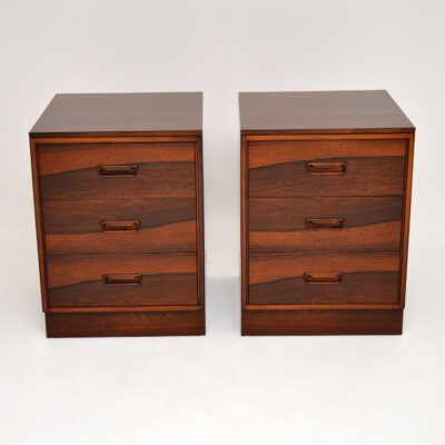 pair of danish retro vintage rosewood bedside chests cabinets
