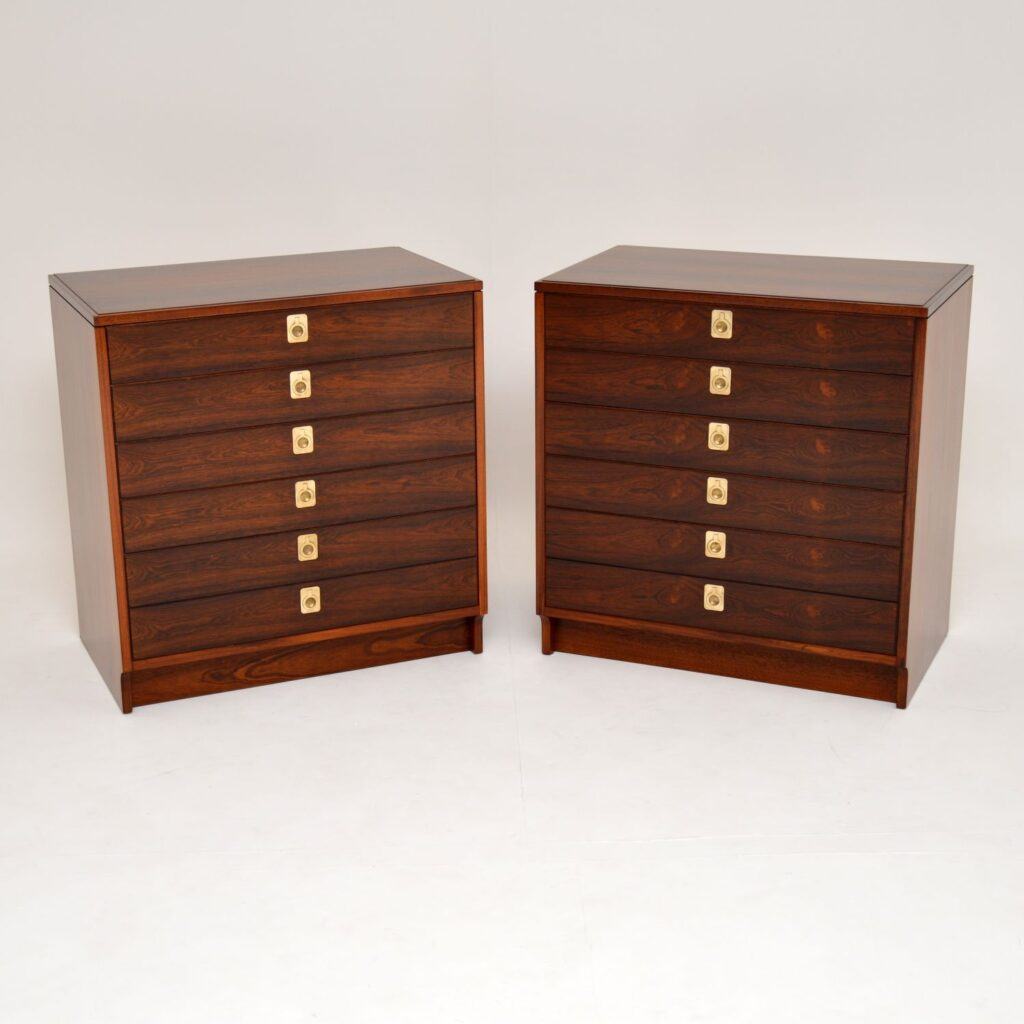 pair of retro vintage rosewood brass chest of drawers archie shine robert heritage