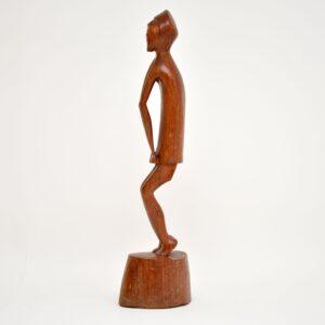 vintage antique retro carved wood african sculpture statue