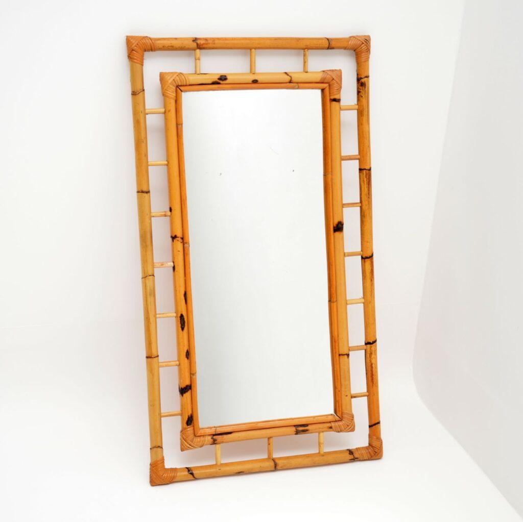 retro vintage bamboo mirror