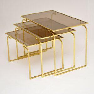 1970's Vintage Italian Brass & Glass Nest of 3 Tables
