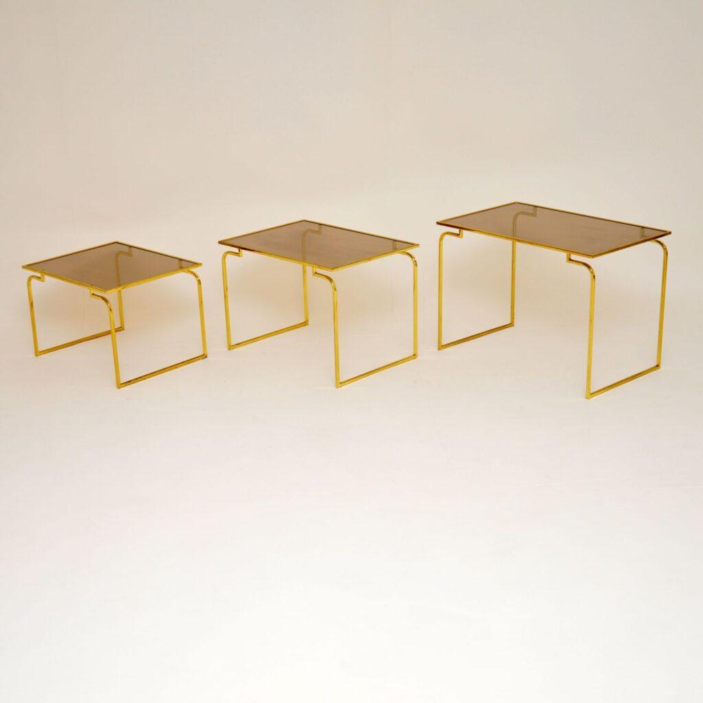 retro vintage italian brass glass nest of tables