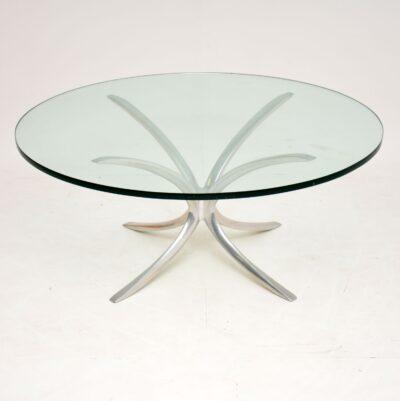 retro vintage spider coffee table steel chrome glass