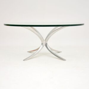 retro vintage spider coffee table steel chrome glass