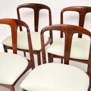 danish retro vintage rosewood johannes andersen julianne dining chairs