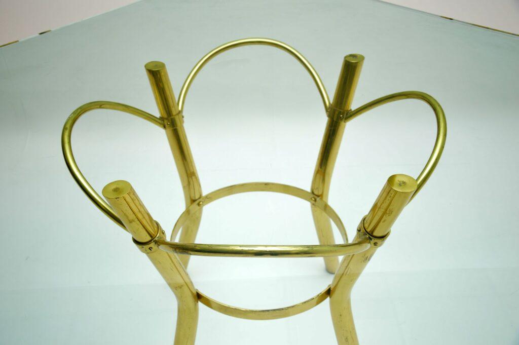 retro vintage brass glass hexagonal dining table
