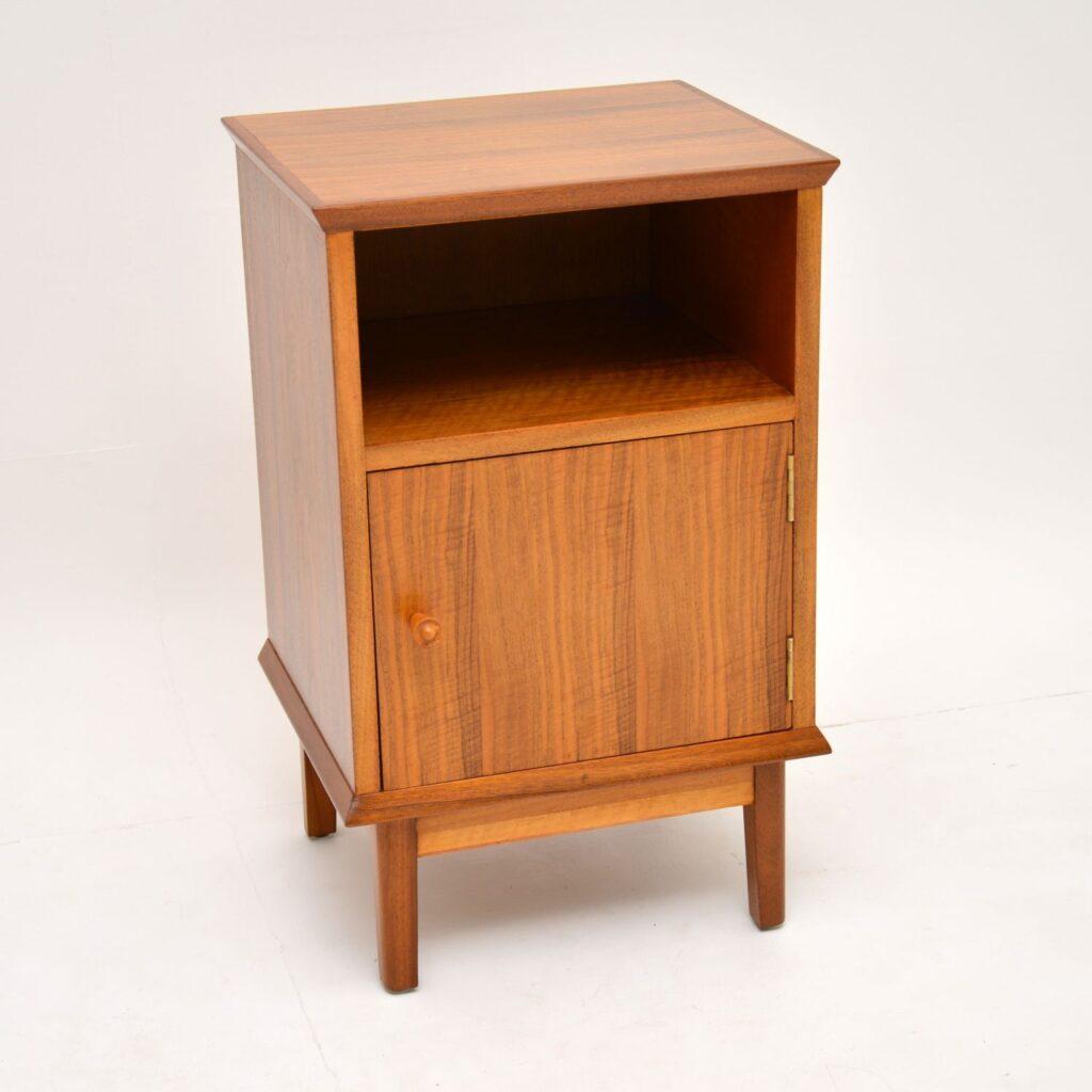 retro vintage walnut bedside cabinet by alfred cox