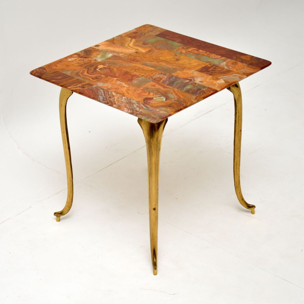 retro vintage antique brass onyx marble coffee side table