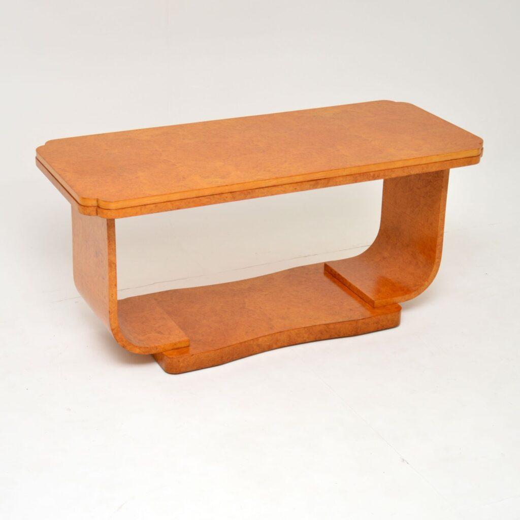 antique art deco burr maple coffee table epstein