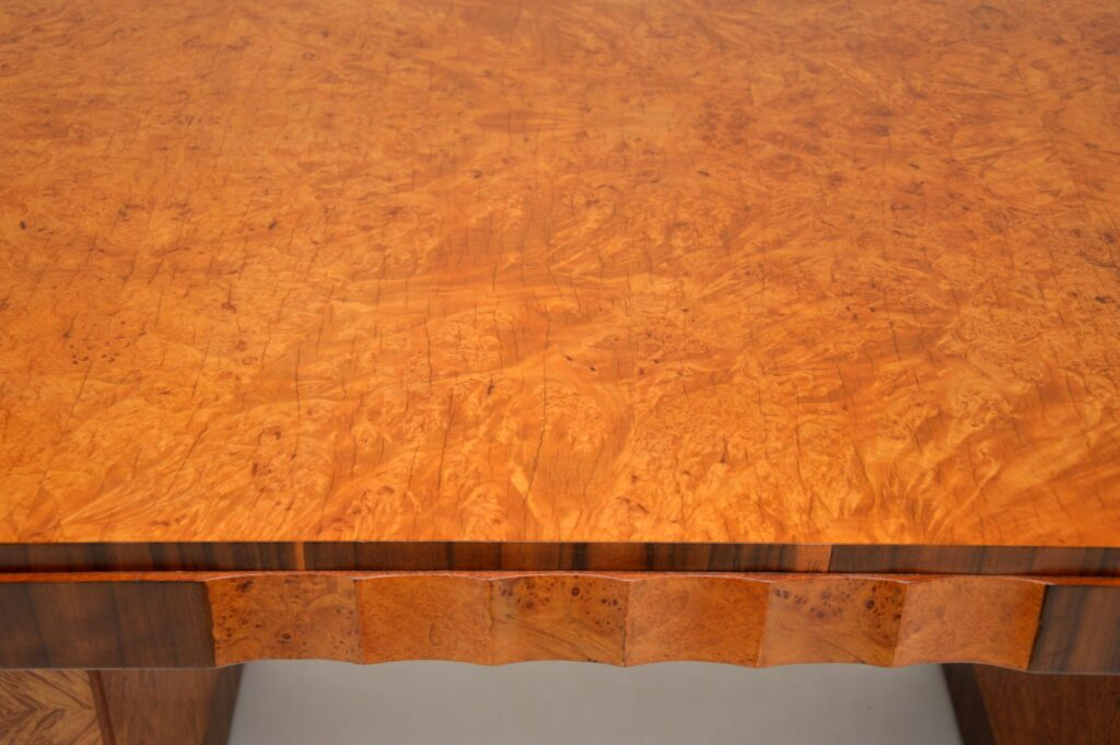 art deco burr walnut epstein cloud back dining chairs table suite