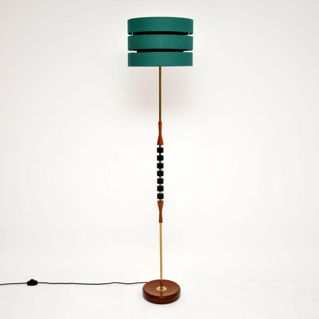 danish retro vintage teak brass floor lamp