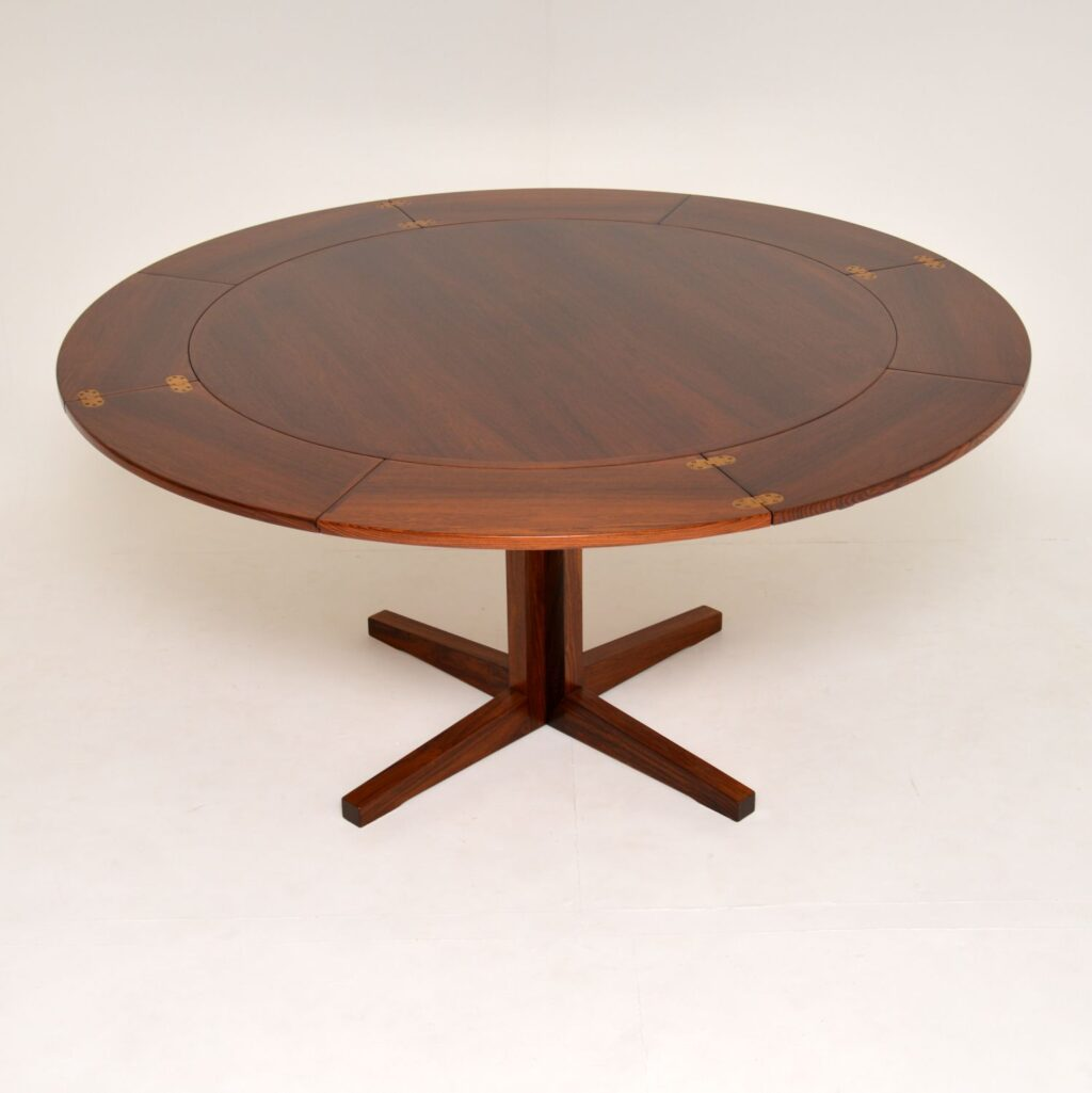dyrlund danish rosewood retro vintage flip flap lotus dining table