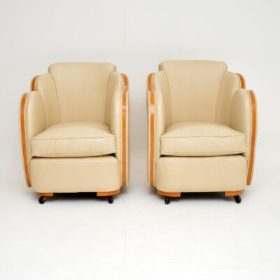 pair art deco leather cloud back armchairs by epstein