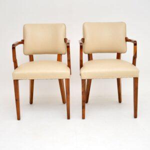 Pair of Vintage Art Deco Walnut Armchairs