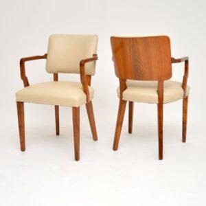 pair of antique art deco vintage armchairs