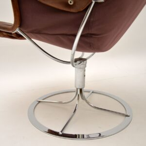 pair of retro vintage leather chrome swivel jetson chairs armchairs bruno mathsson dux