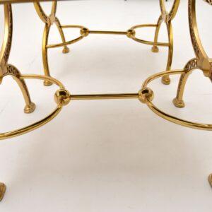 pair of retro vintage brass stools