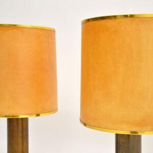 pair vintage retro brass lamps parchment shades
