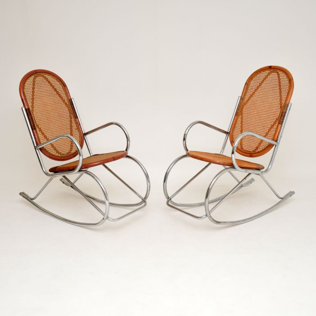 pair of retro vintage chrome bamboo cane rocking chair chairs