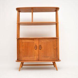retro vintage ercol elm bookcase cabinet room divider