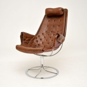 retro vintage leather chrome swivel armchair jetson chair bruno mathsson