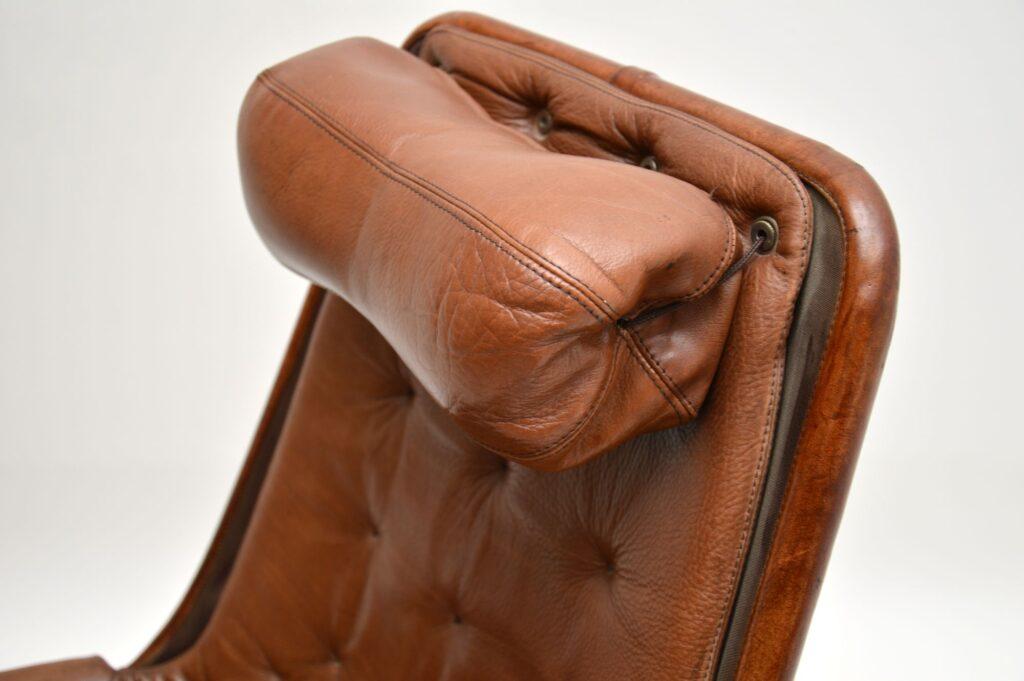 retro vintage leather chrome swivel armchair jetson chair bruno mathsson