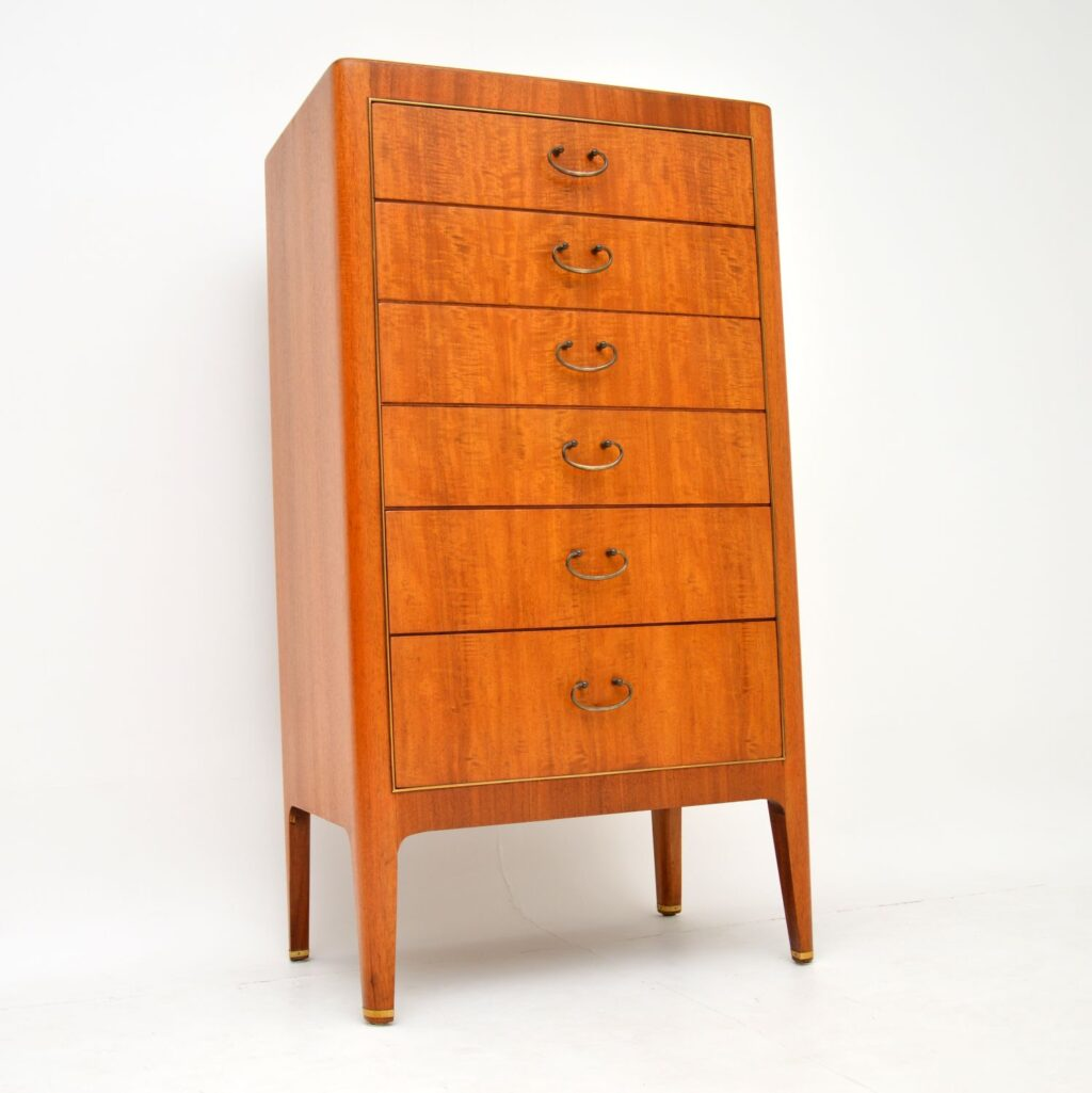 retro vintage mahogany brass tallboy chest of drawers