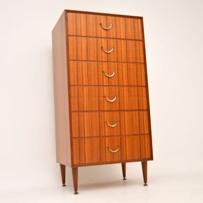 retro vintage tola mahogany tallboy chest of drawers