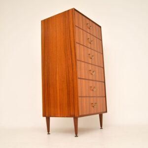 retro vintage tola mahogany tallboy chest of drawers