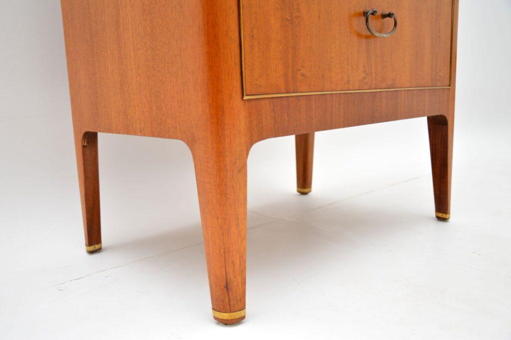 retro vintage mahogany brass tallboy chest of drawers