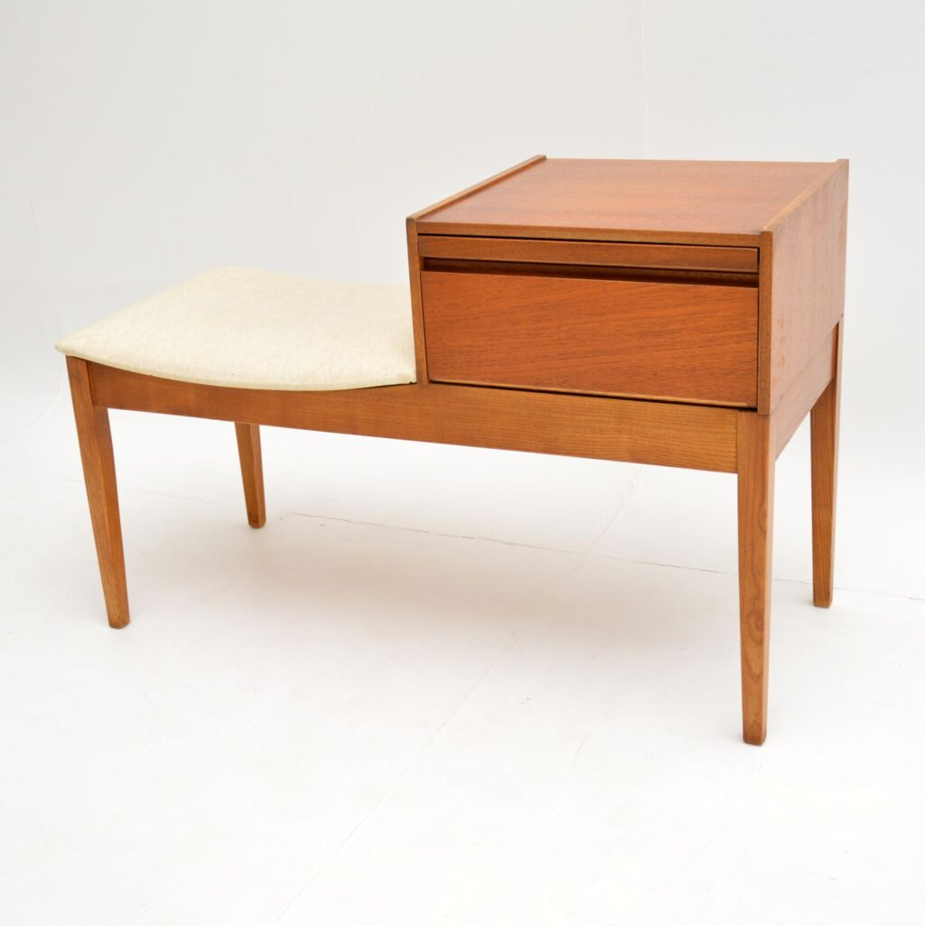 retro vintage teak entry telephone bench seat