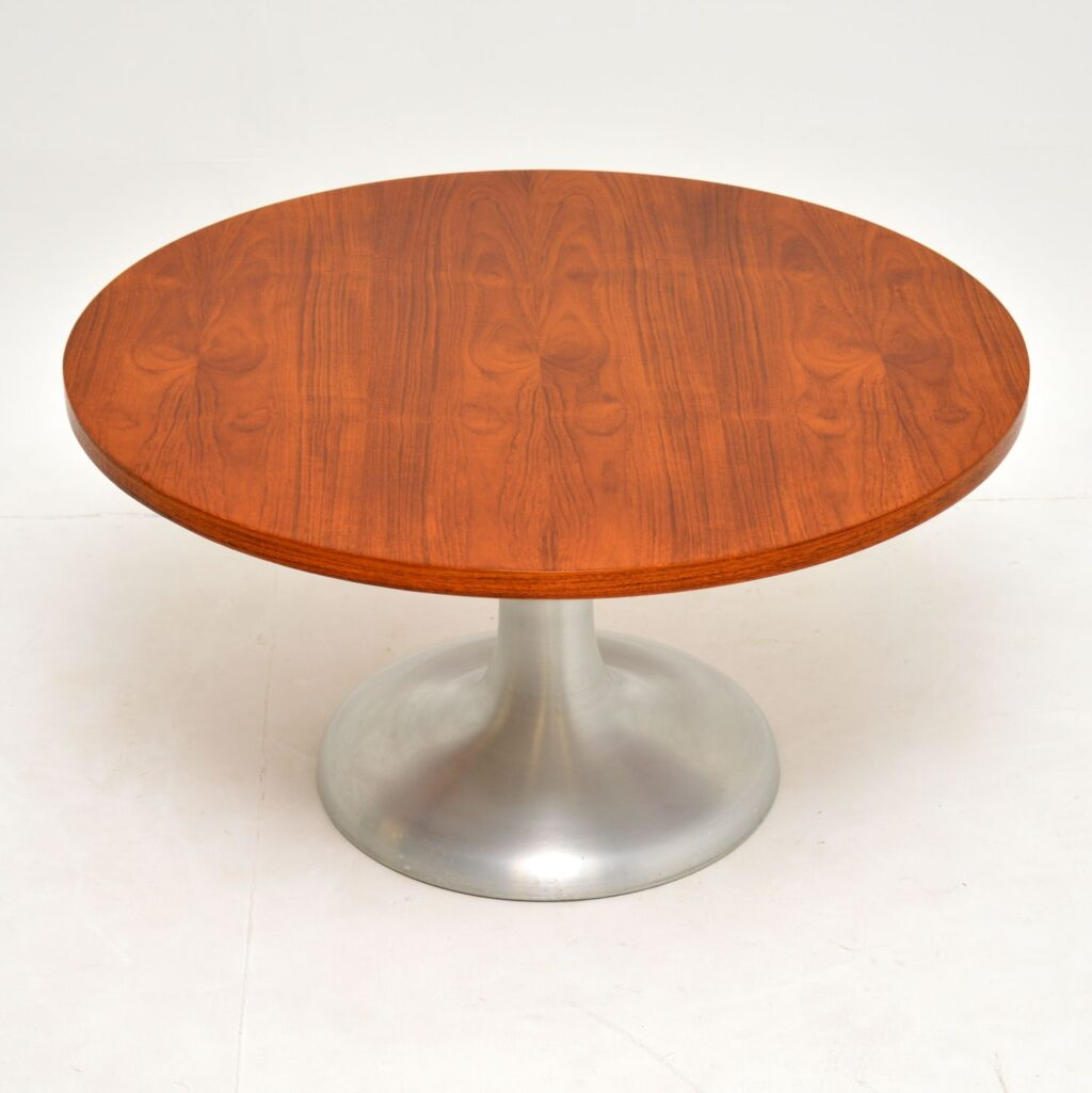 retro vintage danish arkana teak chrome steel coffee table