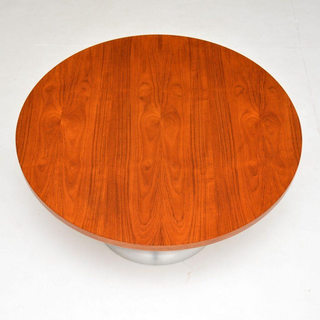retro vintage danish arkana teak chrome steel coffee table