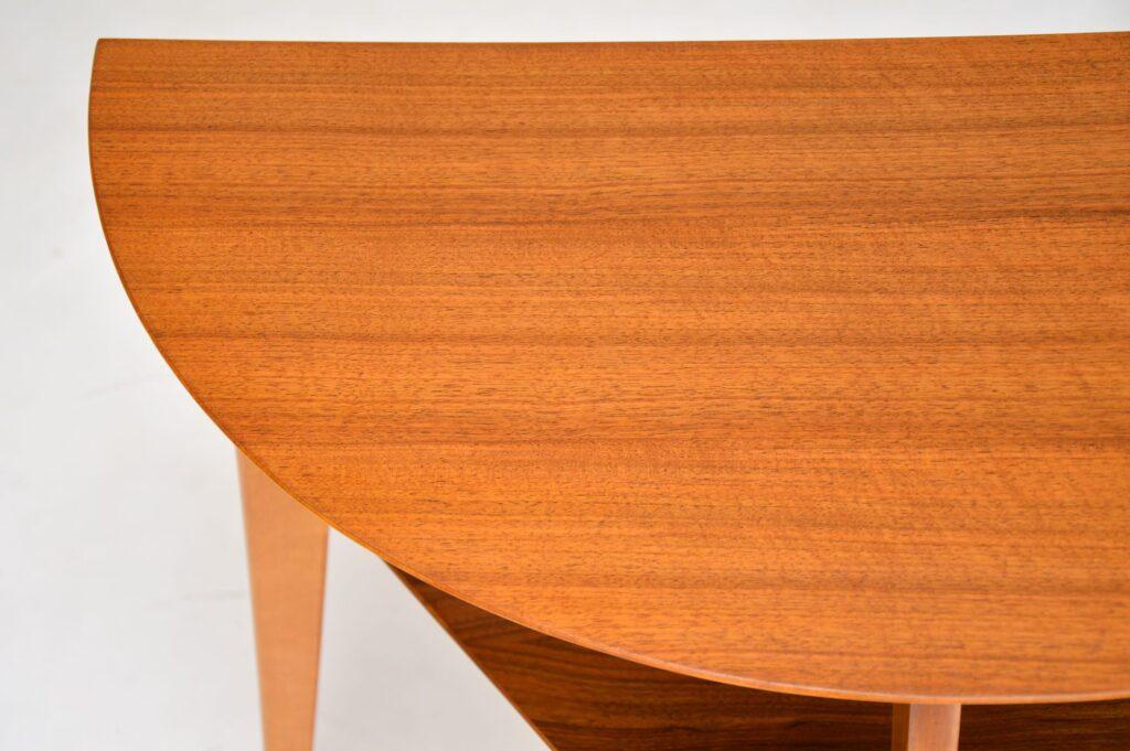retro vintage walnut demi lune console table