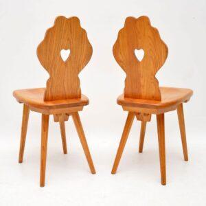 pair of vintage retro antique alpine side chairs