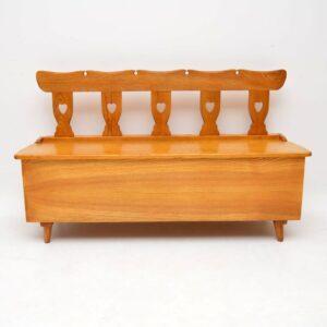 vintage retro antique alpine elm storage bench