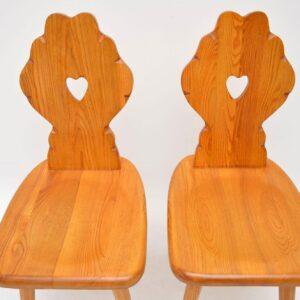 Pair of Vintage Alpine Side Chairs in Solid Elm