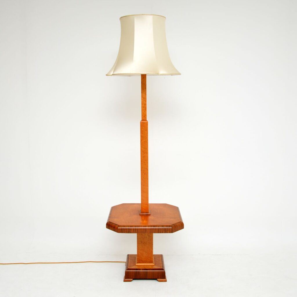 art deco burr maple walnut lamp table