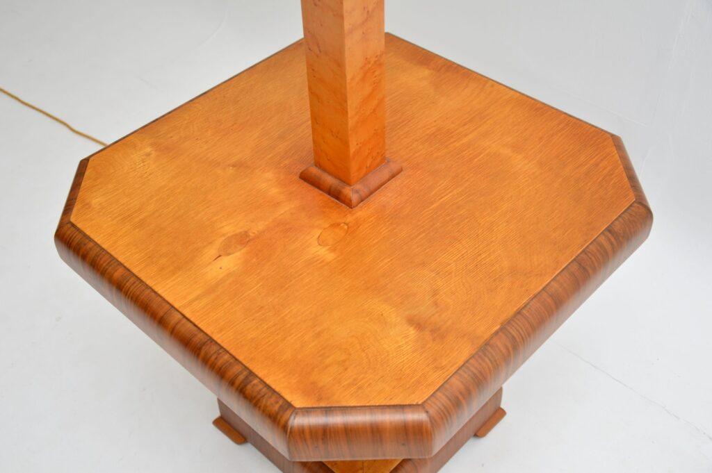 art deco burr maple walnut lamp table