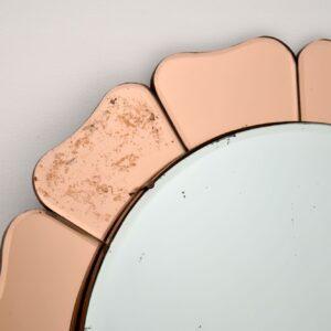 art deco peach glass flower shape mirror