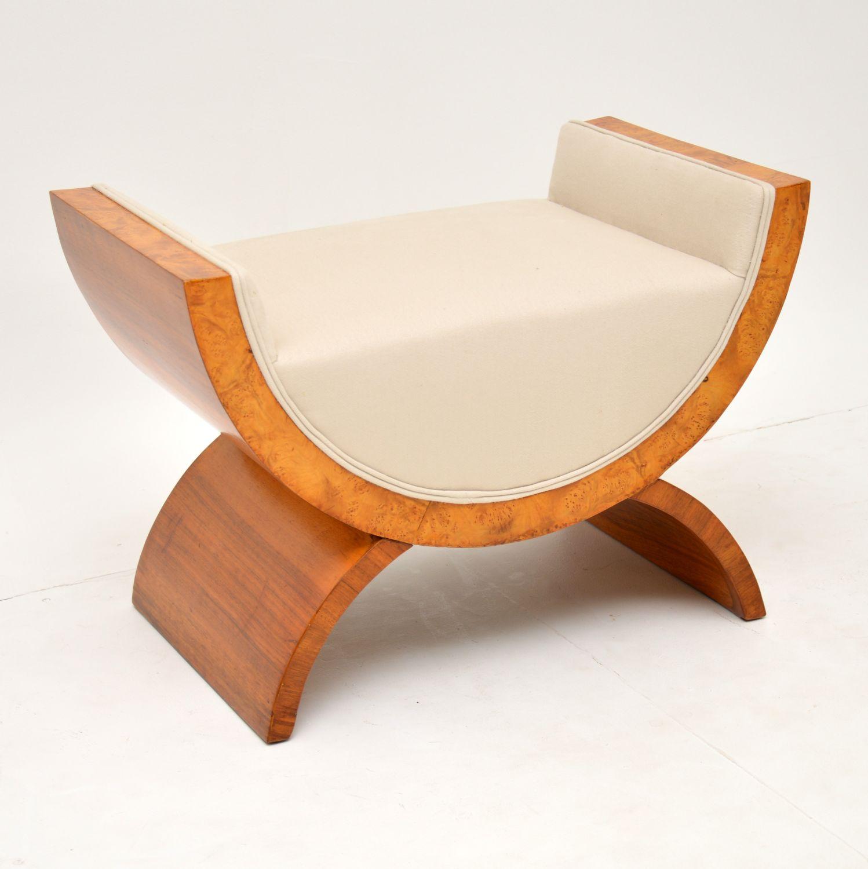 art deco vintage antique walnut stool