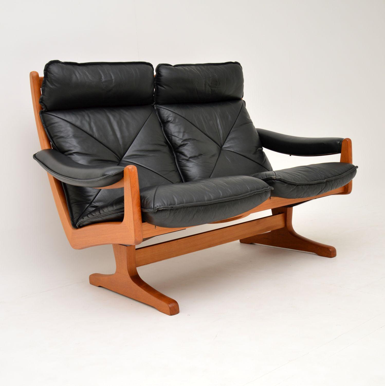 teak retro vintage leather sofa