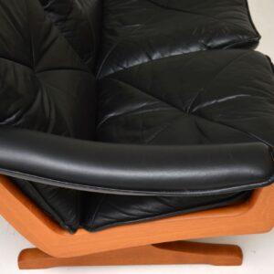 1970's Vintage Teak & Leather Sofa by Soda Galvano