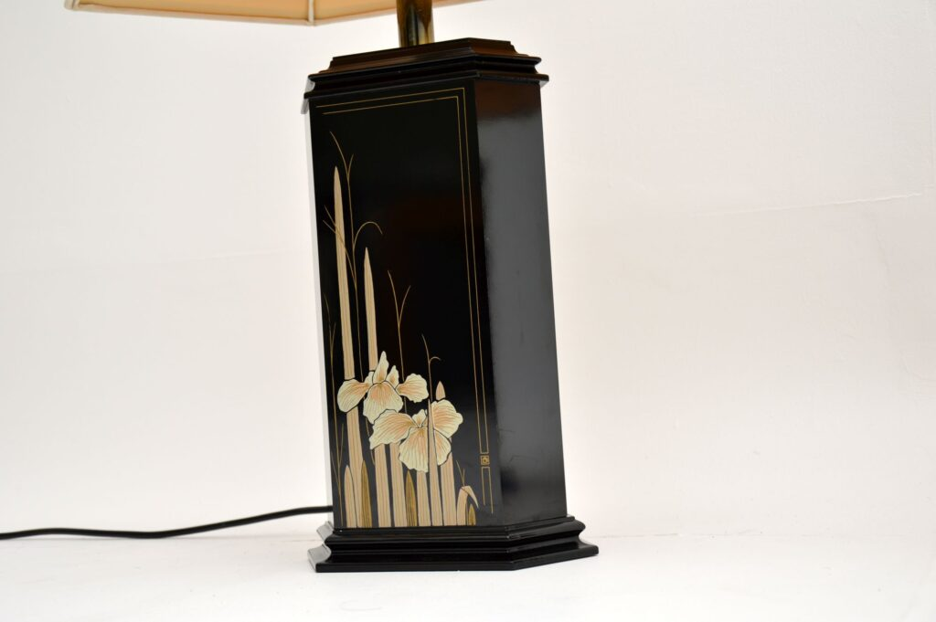 pair of antique retro vintage chinese chinoiserie lacquered lamps