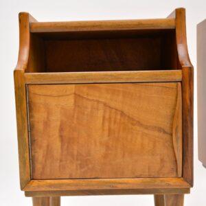 pair of vintage retro walnut italian bedside cabinets