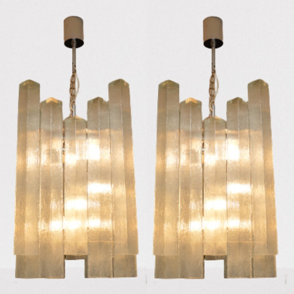 pair of vintage retro glass chandeliers by doria leuchten
