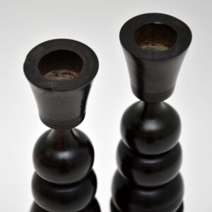 pair of vintage retro antique walnut rosewood candlesticks