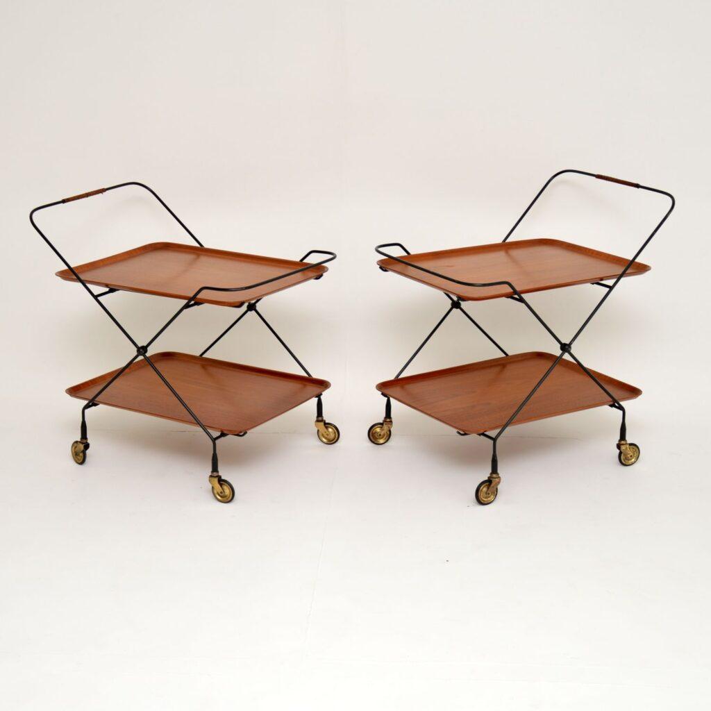 pair of retro vintage swedish teak tray top side bedside tables drinks trolley