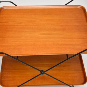 pair of retro vintage swedish teak tray top side bedside tables drinks trolley